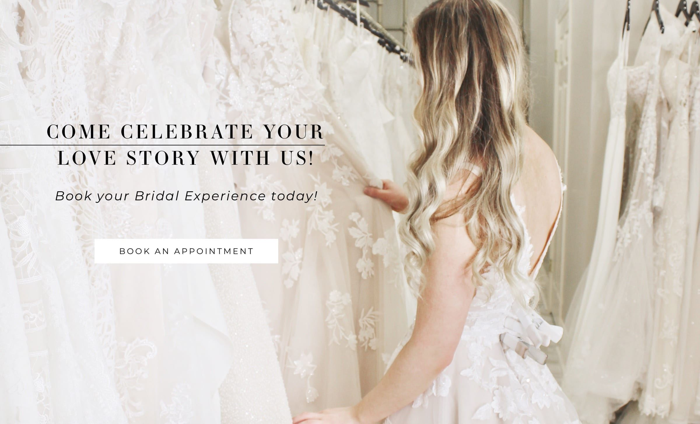 Bride browsing through wedding dresses at Amanda's Touch shown on banner